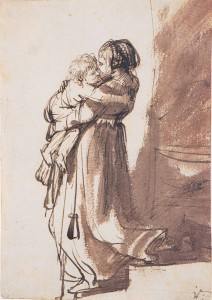 Rembrandt--Women descending a staircase with a child