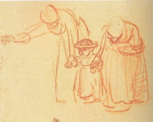 Rembrantdt--Women Teaching a Child to Walk