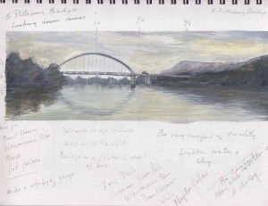 S. Pittsburg bridge gouache