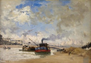 "Frank Boggs--""The Seine, Outside Paris, 15 x 22, Oil on canvas, 1885"