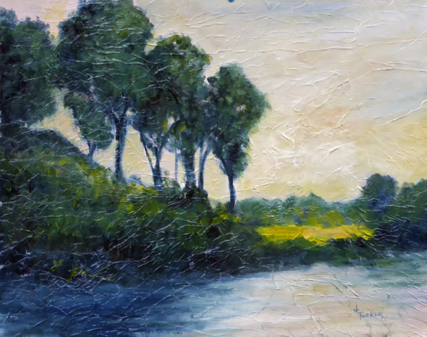 Summer landscape, river, greens and yellows